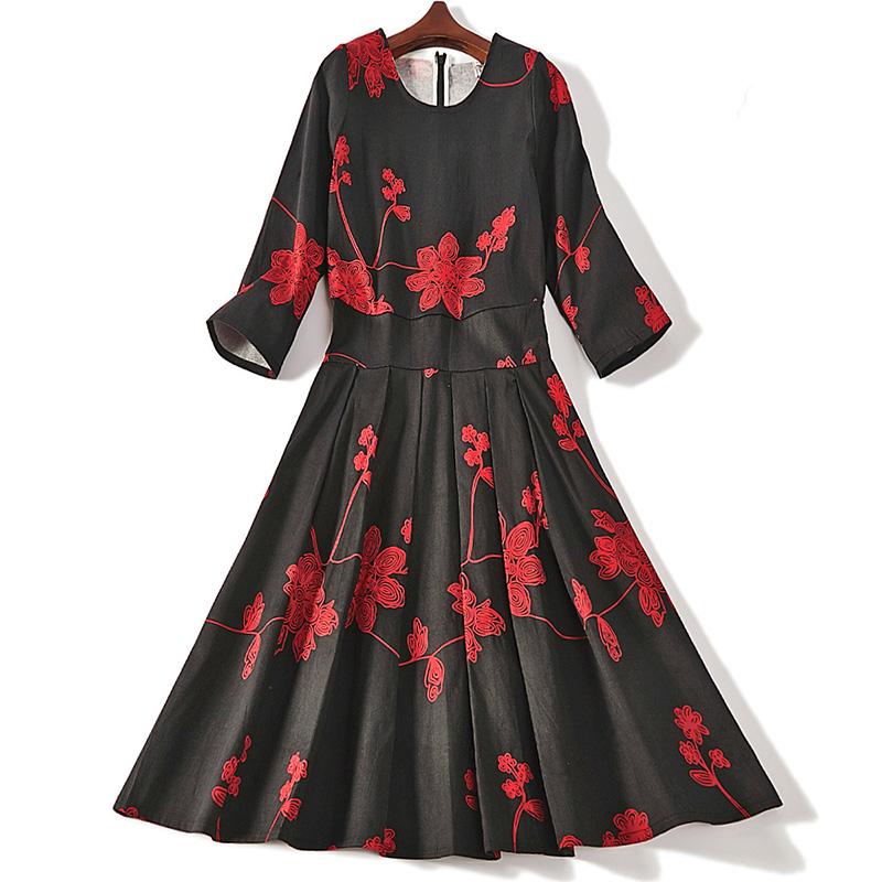 七分袖连衣裙 春夏新款印花拼接七分袖圆领气质A字连衣裙女6821_推荐淘宝好看的七分袖连衣裙