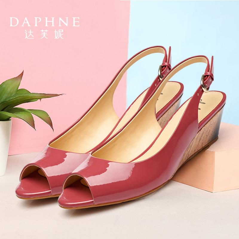 女款鱼嘴鞋 Daphne达芙妮舒适女鞋 纯色中坡跟一字扣PU鱼嘴女凉鞋1715303920_推荐淘宝好看的女鱼嘴鞋