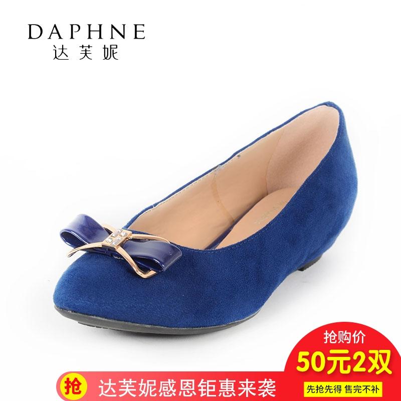 低跟坡跟鞋 Daphne达芙妮时尚尖头低跟坡跟纯色套脚女鞋蝴蝶结装饰单鞋_推荐淘宝好看的低跟坡跟鞋