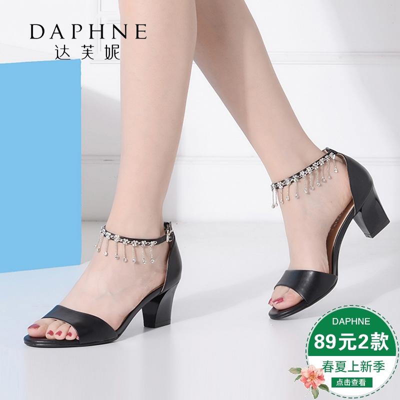 达芙妮尖头鞋 Daphne达芙妮时尚工作女鞋尖头露趾一字带方跟女凉鞋1016303115_推荐淘宝好看的达芙妮尖头鞋
