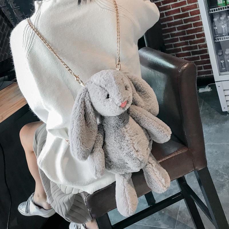 女士斜挎包 2017新款日韩可爱毛绒装死兔子单肩斜挎兔毛毛包百搭链条女包包小_推荐淘宝好看的女斜挎包