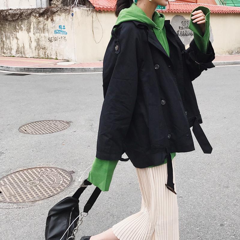 风衣外套 【阿一家】质感好布料 帅气双排扣纯色风衣女 百搭宽松工装薄外套_推荐淘宝好看的女风衣外套