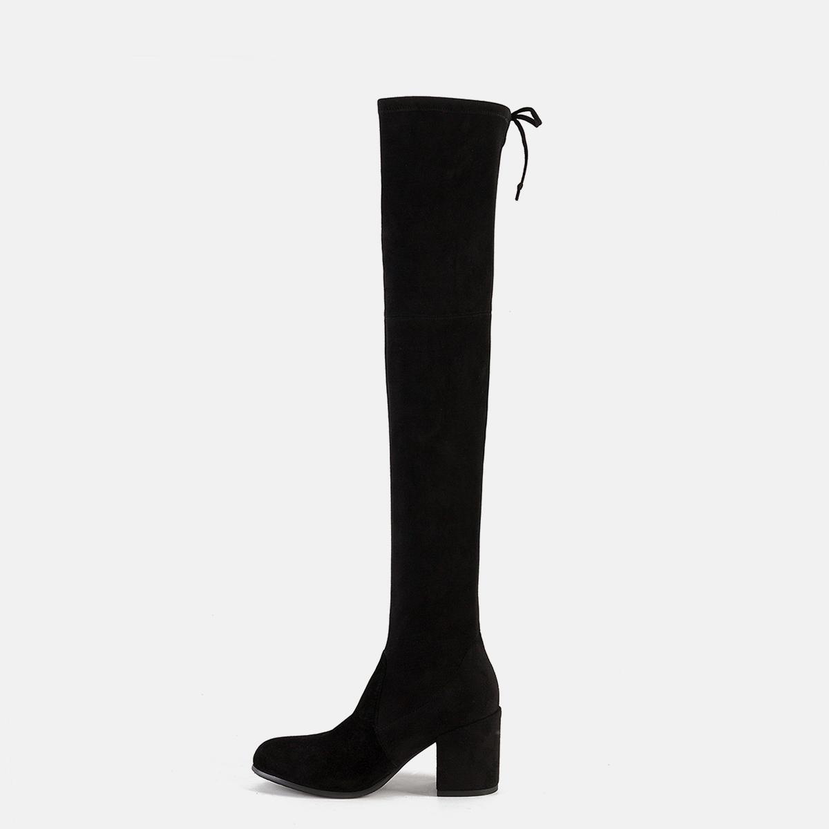 高跟靴 UKKU 秋冬粗跟过膝长靴高跟7.5CM高筒绑带弹力靴高靴女靴子补货_推荐淘宝好看的女高跟靴