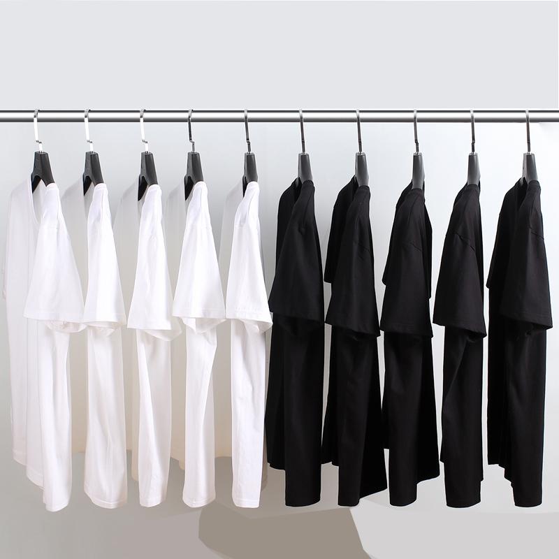 空白t恤 纯黑色t恤男女短袖纯棉圆领宽松手绘空白体恤批发班服可印字印图_推荐淘宝好看的女空白t恤