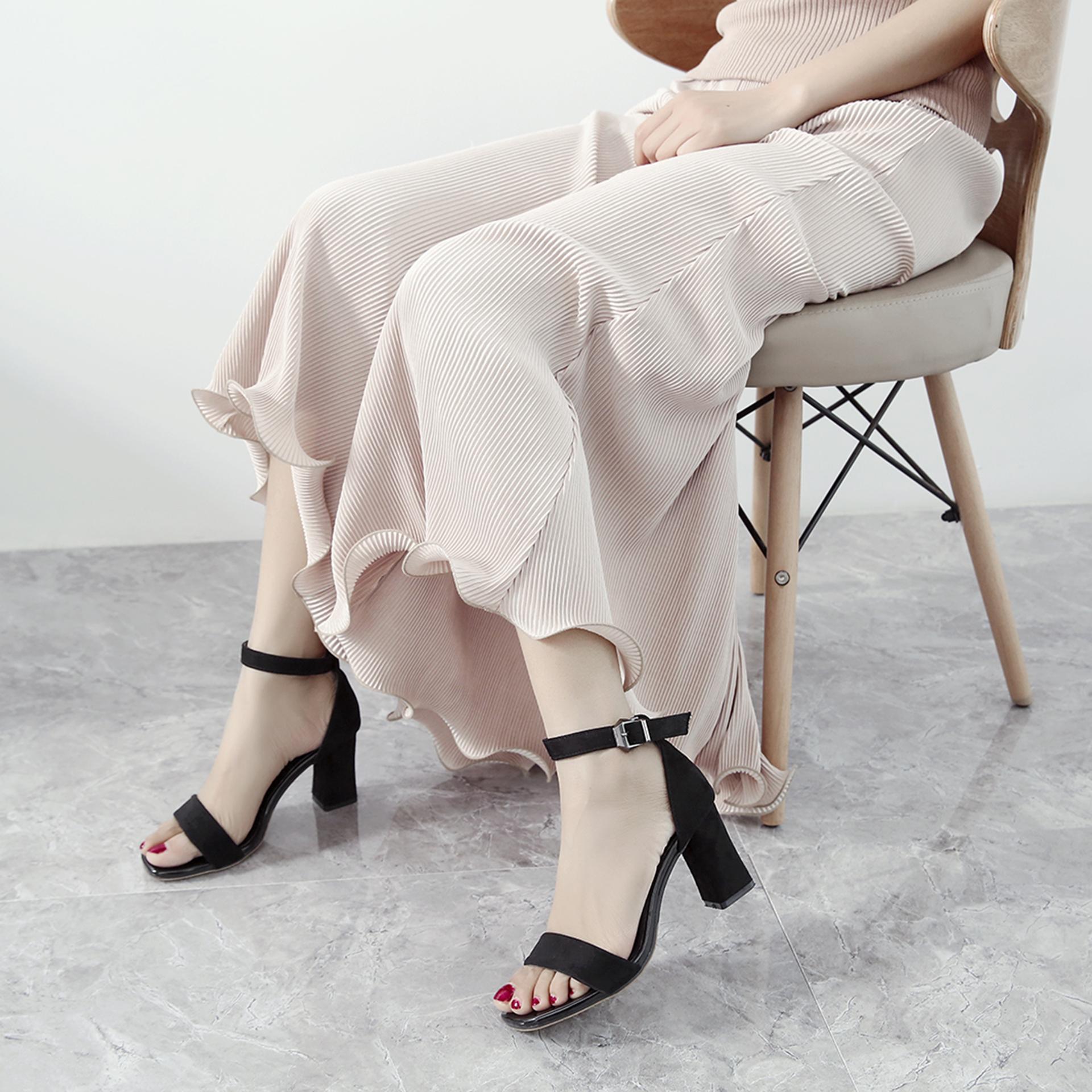 罗马鞋 凉鞋女中跟2018夏季新款学生黑色百搭罗马女鞋粗跟一字扣高跟鞋_推荐淘宝好看的女罗马鞋