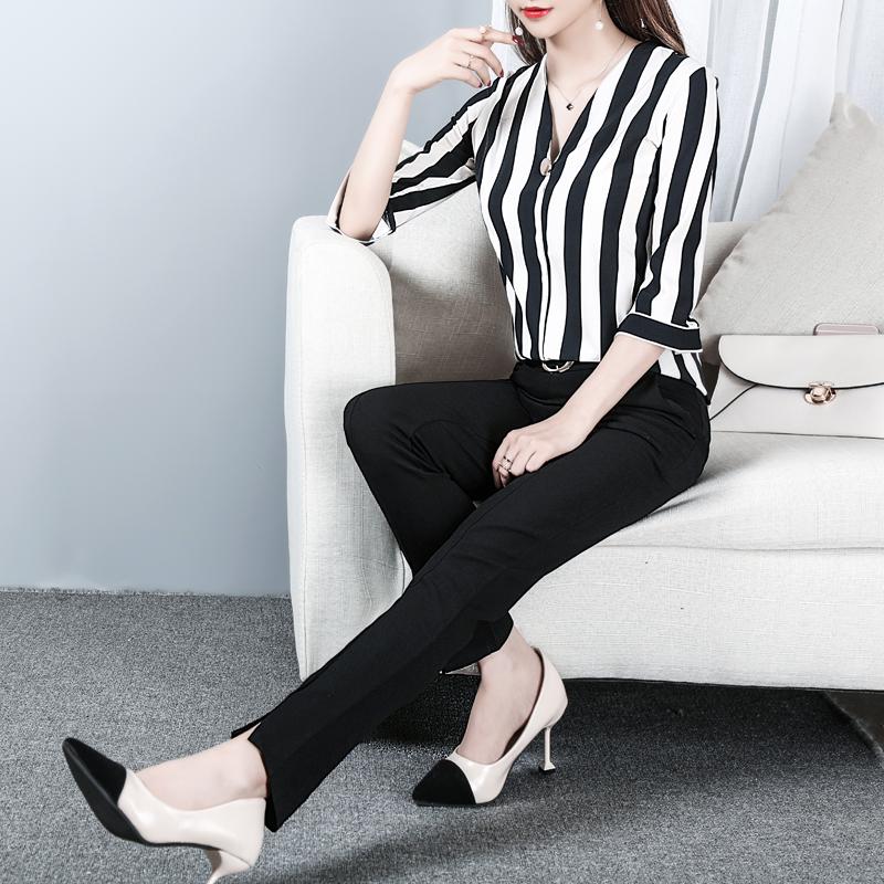 女装品牌 2018新款春装时髦套装时尚气质两件套大码显瘦女装衬衫+长裤ol潮_推荐淘宝好看的女装