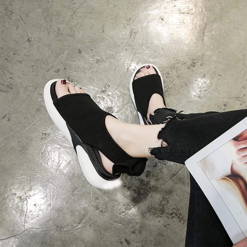 红色鱼嘴鞋 平底旅游舒服甜美2018韩版新款女士鱼嘴凉鞋简约红色室外两穿防。_推荐淘宝好看的红色鱼嘴鞋