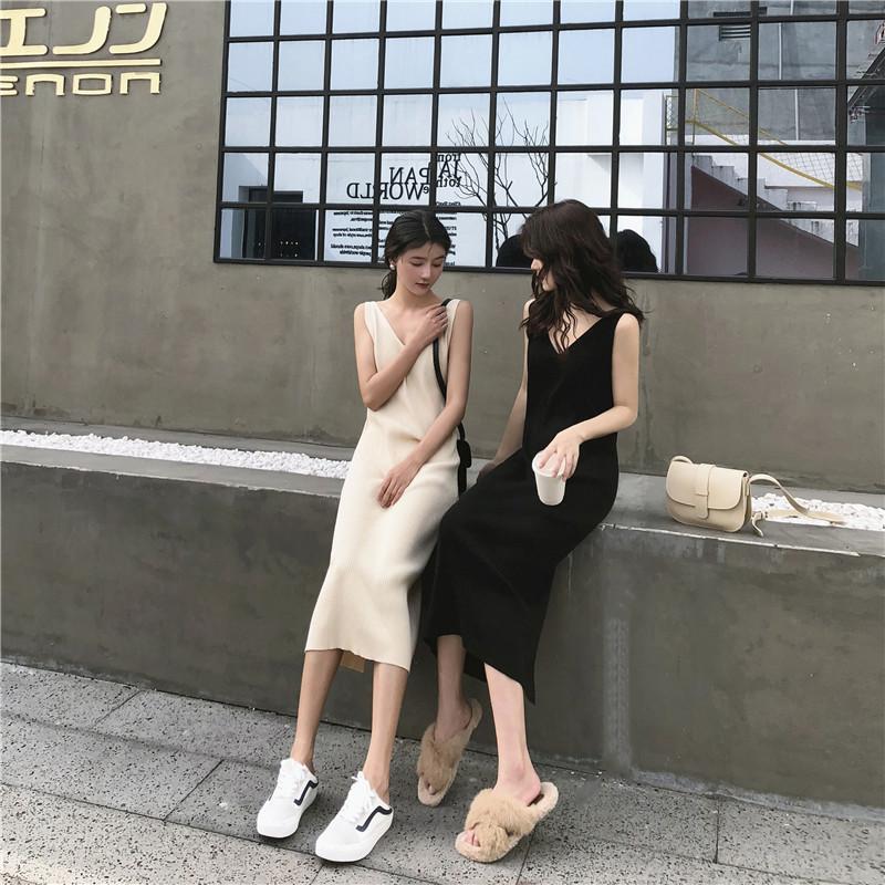 淘宝商城女装连衣裙 V领无袖吊带针织裙2019夏新款修身显瘦外穿打底包臀开叉连衣裙女_推荐淘宝好看的连衣裙