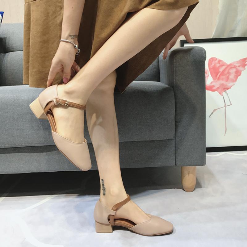 时尚单鞋 金属粗跟高跟鞋女夏季方头一字扣时尚百搭女单鞋奶奶鞋复古英伦风_推荐淘宝好看的女时尚单鞋