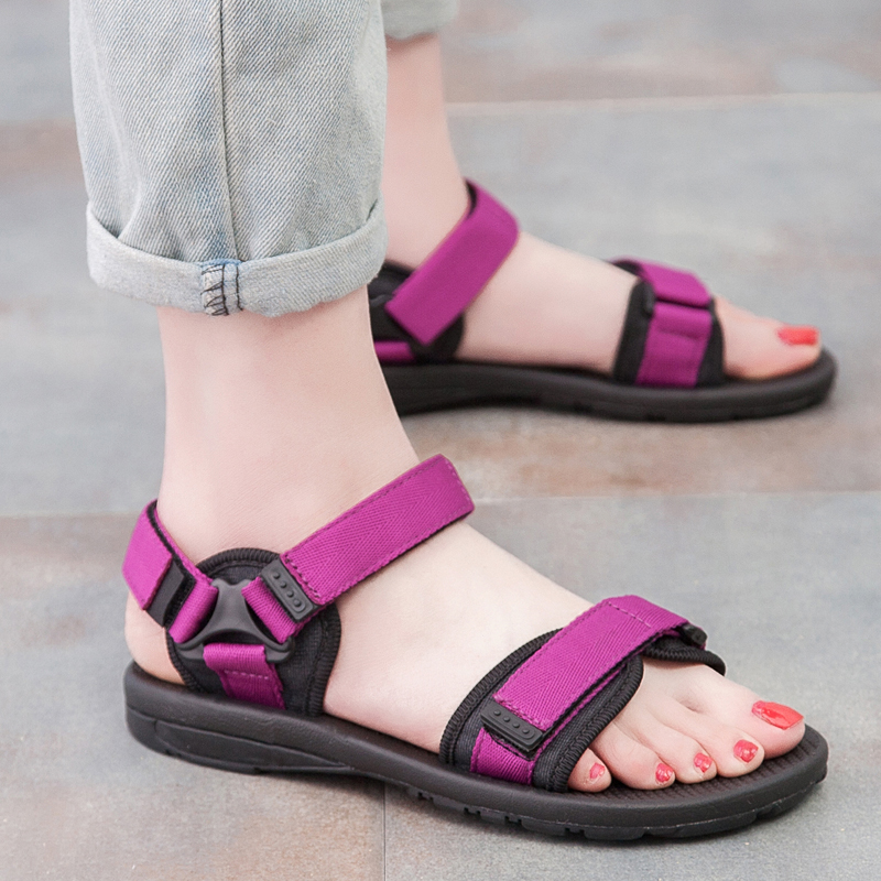 紫色凉鞋 夏大码凉鞋女2018新平底韩版学生软底沙滩鞋孕妇平跟防滑紫色42码_推荐淘宝好看的紫色凉鞋