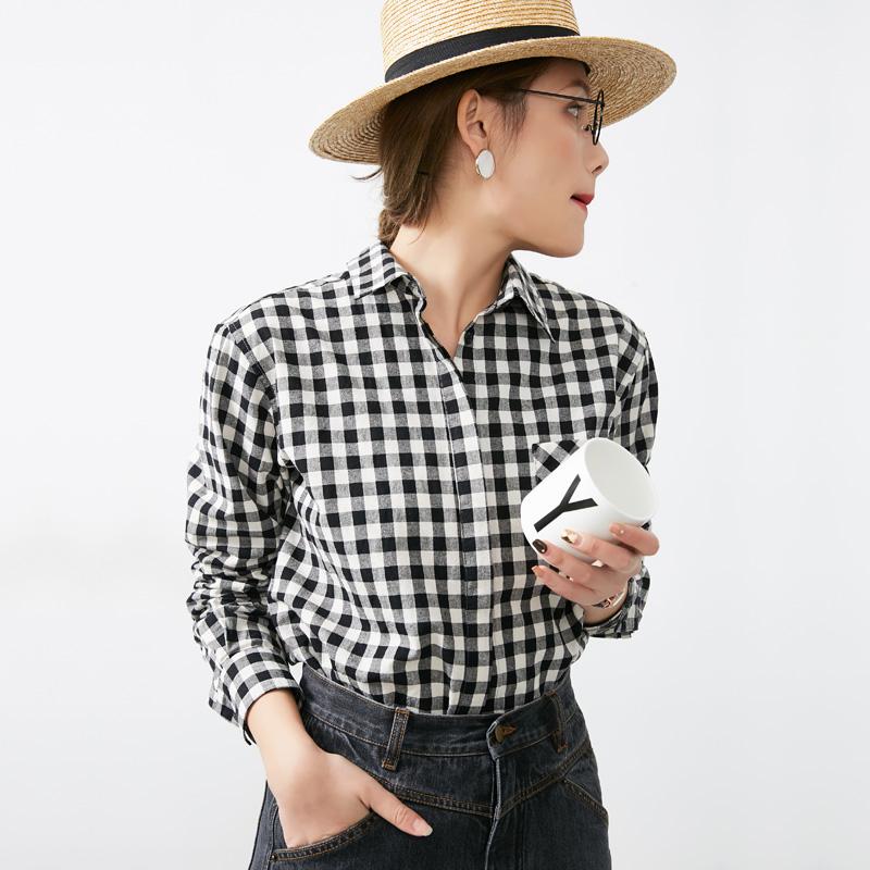 黑白格子衬衫 evewang  轻装前行 基础款棉质黑白格子衬衫2018春款休闲衬衣女_推荐淘宝好看的女黑白格子衬衫