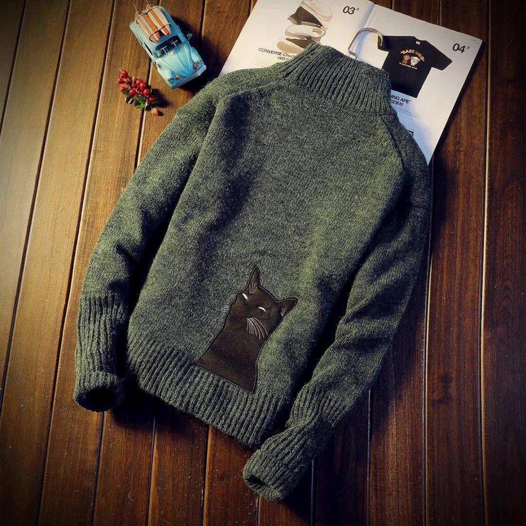 男士套头针织衫 新款青少年男针织衫毛衣男士高领套头加厚长袖学生秋冬季时尚潮流_推荐淘宝好看的男套头针织衫