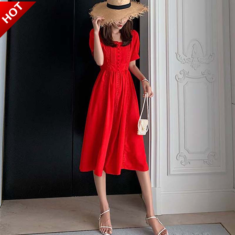礼服 大红色连衣裙雪纺裙子中长款女夏法式方领短袖修身A字礼服小红裙_推荐淘宝好看的礼服