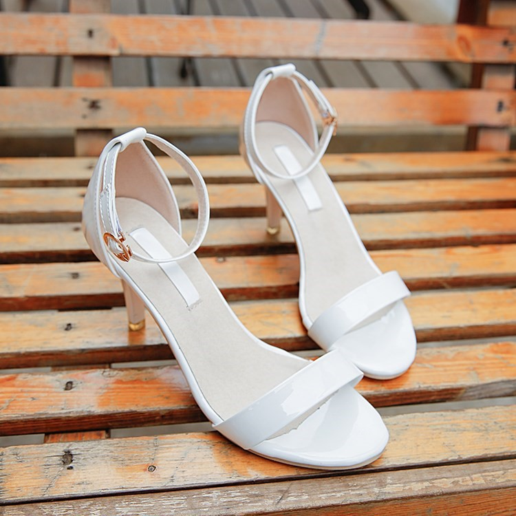白色高跟凉鞋 7cm7厘米凉鞋女高跟鞋细跟学生黑色白色中高跟单跟33码春夏中年人_推荐淘宝好看的女白色高跟凉鞋
