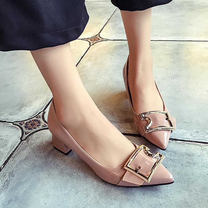 粉红色尖头鞋 高跟学生鞋子女装厚底女式内增高低帮鞋尖头粗跟粉红色黑色套脚PU_推荐淘宝好看的粉红色尖头鞋