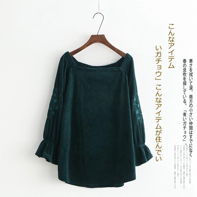 绿色卫衣 春新款外贸女装时尚百搭宽松一字领喇叭袖民族风刺绣丝绒卫衣3002_推荐淘宝好看的绿色卫衣