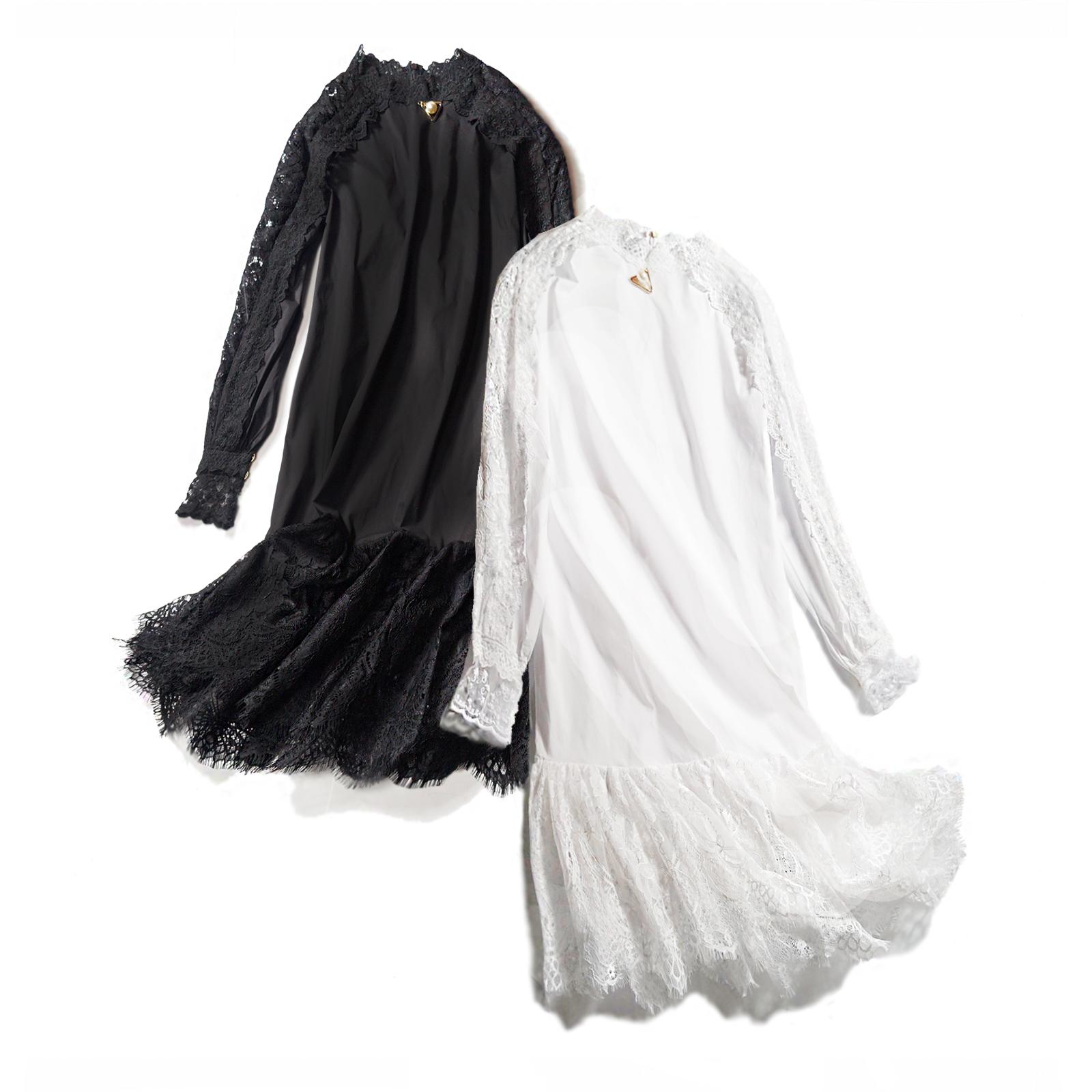 白色蕾丝连衣裙 欧洲站秋装女装2018新款欧货潮蕾丝拼接长袖镂空透视中长款连衣裙_推荐淘宝好看的白色蕾丝连衣裙