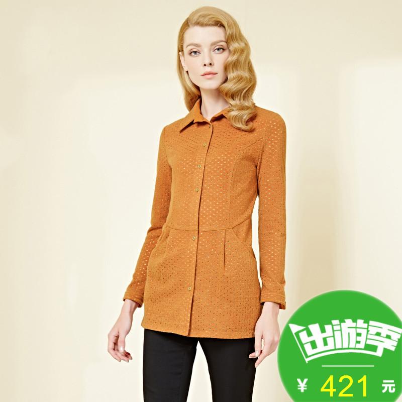 长袖衬衫 JUZUI玖姿2017春季新款纯色镂空修身显瘦针织长袖中长款衬衫女_推荐淘宝好看的女长袖衬衫