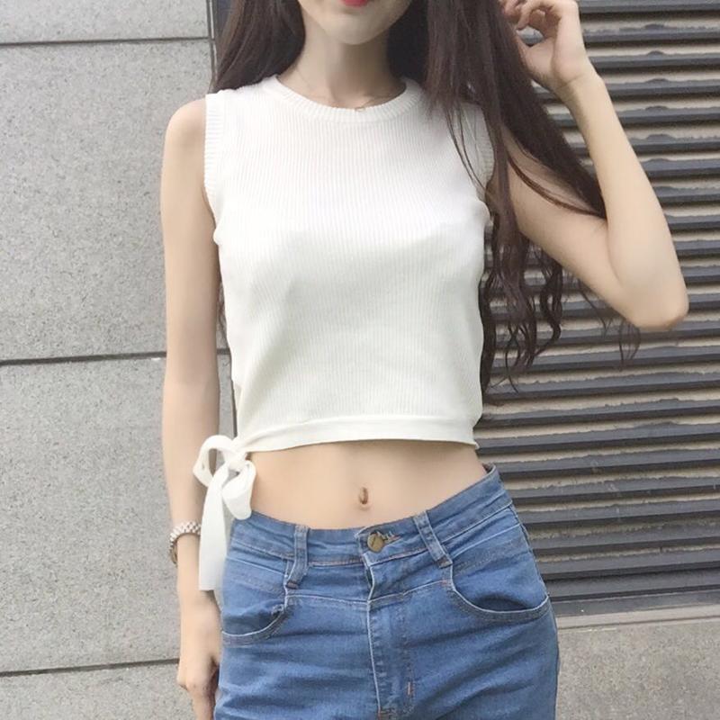 修身打底上衣 夏季女装韩版修身显瘦百搭无袖针织t恤外穿打底背心短款露脐上衣_推荐淘宝好看的女修身打底上衣