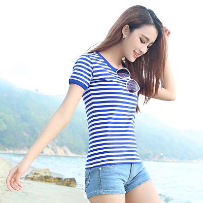 蓝白条纹t恤 夏季海魂衫女短袖纯棉修身蓝白横条纹情侣装半袖海军风t恤水手服_推荐淘宝好看的女蓝白条纹t恤
