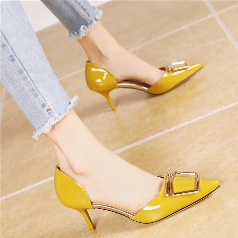 黄色高跟鞋 韩版时尚黄色中空细跟高跟鞋女2018夏季新款气质百搭漆皮单鞋女OL_推荐淘宝好看的黄色高跟鞋