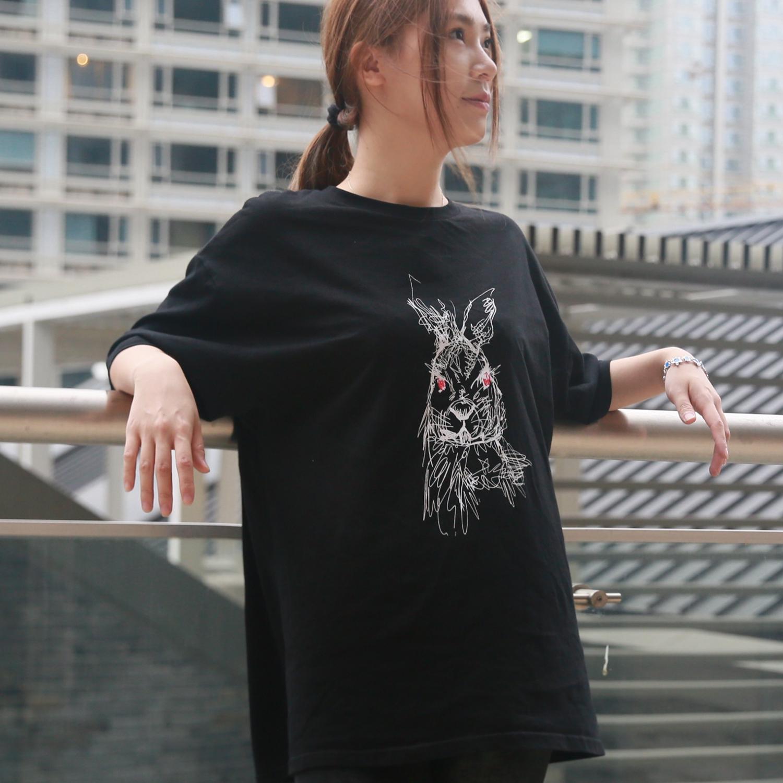 原创手绘t恤 WILD ROSE 独立 原创 手绘杂乱风 插画 男女同款  纯棉套头 T恤_推荐淘宝好看的女原创手绘t恤