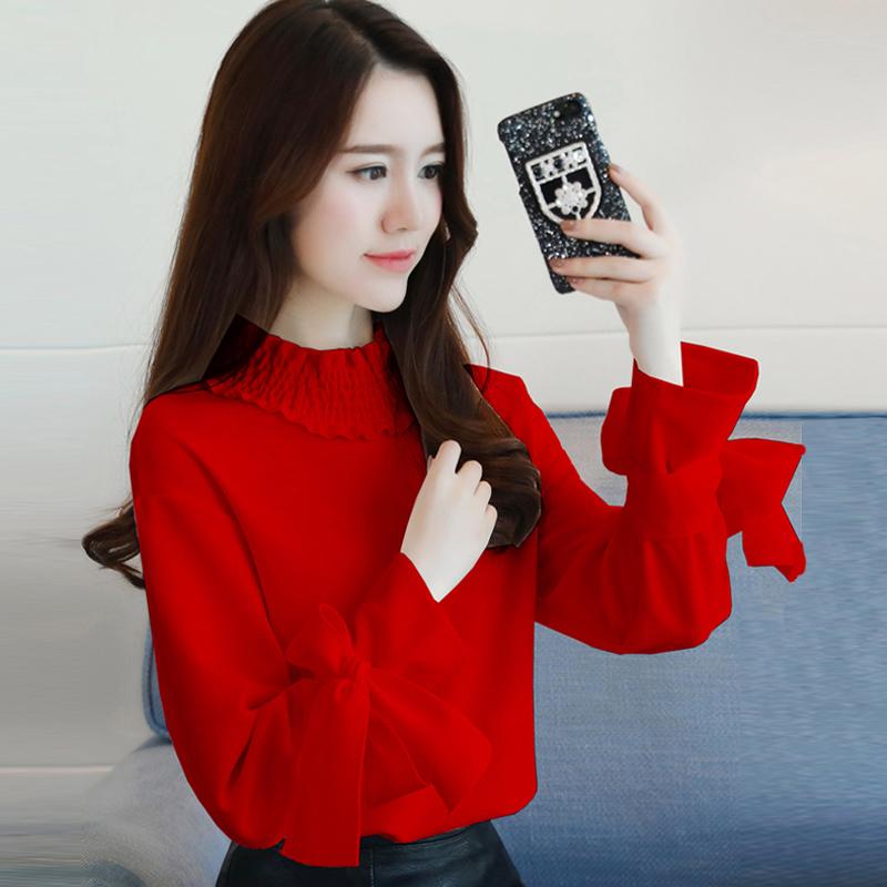 韩版长袖t恤 雪纺衫女2018春装新款韩版超仙气质衬衫上衣女士长袖T恤打底衫_推荐淘宝好看的女韩版长袖t恤