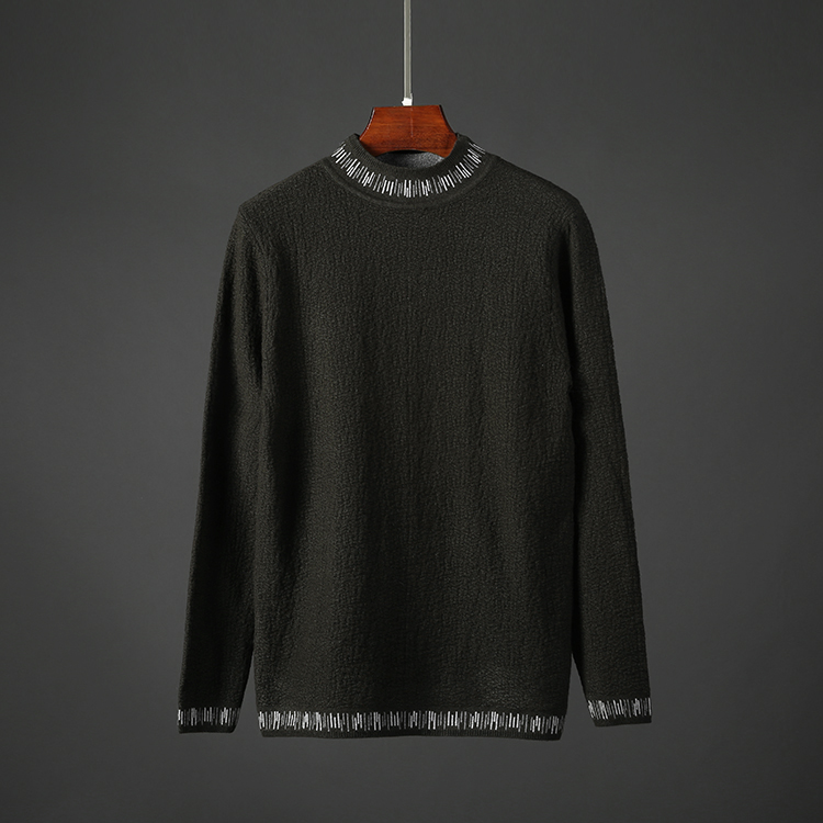 男士套头针织衫 秋季男士半高领毛衣修身弹力针织衫日系韩版休闲套头男装上衣8328_推荐淘宝好看的男套头针织衫