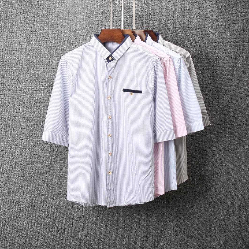 男装衬衫 男士短袖衬衫夏季韩版修身条纹帅气衬衣青年潮流休闲中袖寸衣305_推荐淘宝好看的男衬衫
