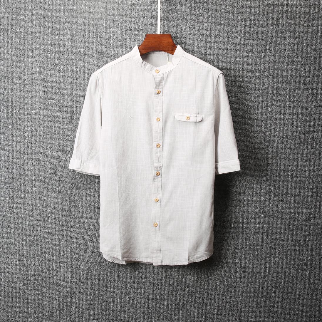 男装衬衫 2018夏季个性时尚衬衫男士短袖韩版休闲修身薄款百搭青年衬衣1527_推荐淘宝好看的男衬衫