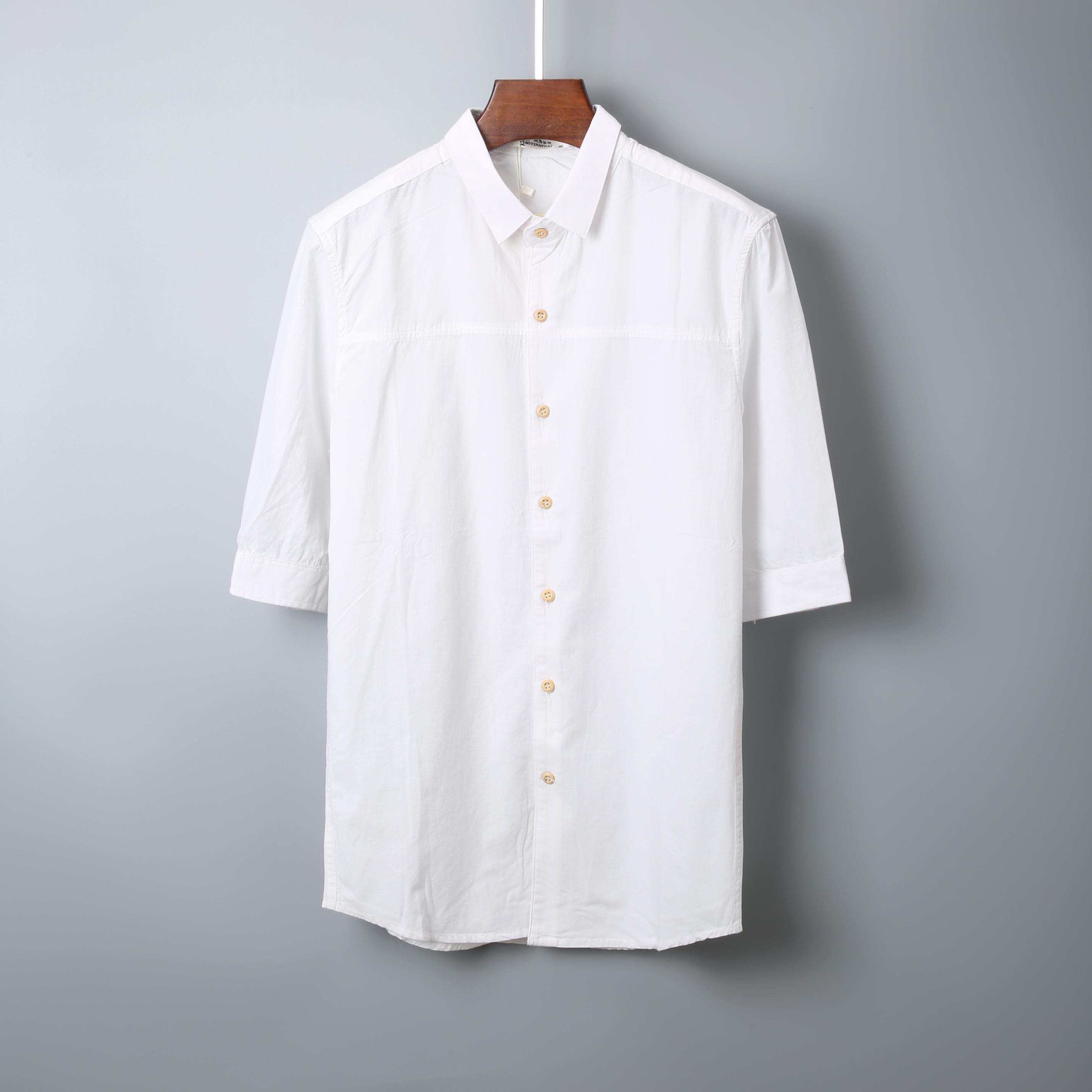 男装衬衫 2018夏季新款韩版男装短袖衬衣靓仔休闲修身中袖衬衫潮流上衣1510_推荐淘宝好看的男衬衫