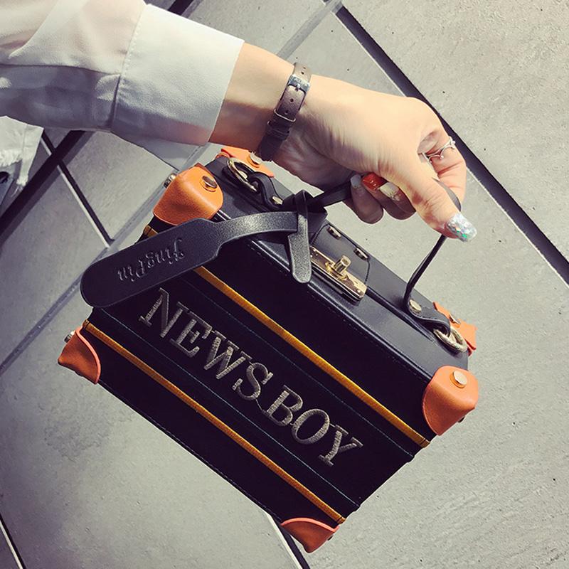 斜跨女式英伦手提包 手提定型字母盒子包小箱子包包女2017新款个性复古英伦单肩斜跨包_推荐淘宝好看的斜跨女英伦手提包