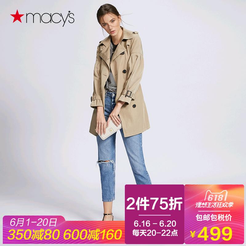 风衣外套 Macy's外套女春装2018新款时髦灯笼袖风衣BCBGeneration173040272_推荐淘宝好看的女风衣外套