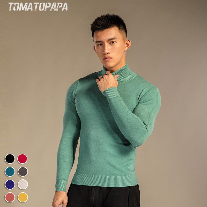 欧美男士高领毛衣 TOMATOPAPA原创欧美修身高领男士毛衣英伦青年针织衫纯色打底衫男_推荐淘宝好看的欧美男高领毛衣