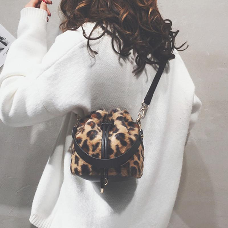 水桶包 ins豹纹小包包女2018冬新款复古毛绒包时尚水桶包chic斜挎单肩包_推荐淘宝好看的女水桶包