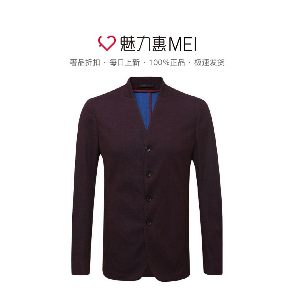 阿玛尼男士西装 Armani Collezioni 紫红色纯棉V领儒雅男士长袖西装外套_推荐淘宝好看的阿玛尼男西装