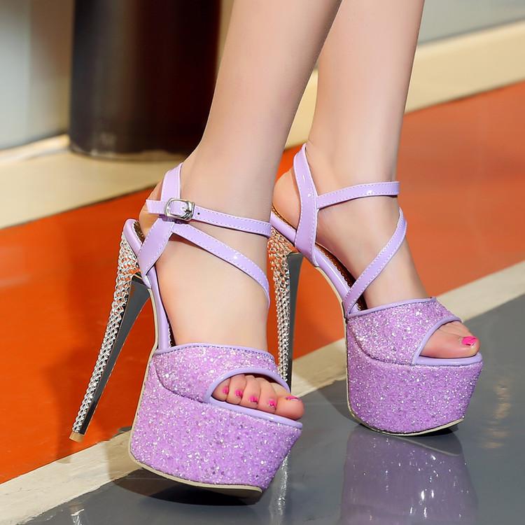 紫色鱼嘴鞋 夜店性感超高跟鞋子恨天高厚底防水台露趾凉鞋女紫色扣带细跟女鞋_推荐淘宝好看的紫色鱼嘴鞋