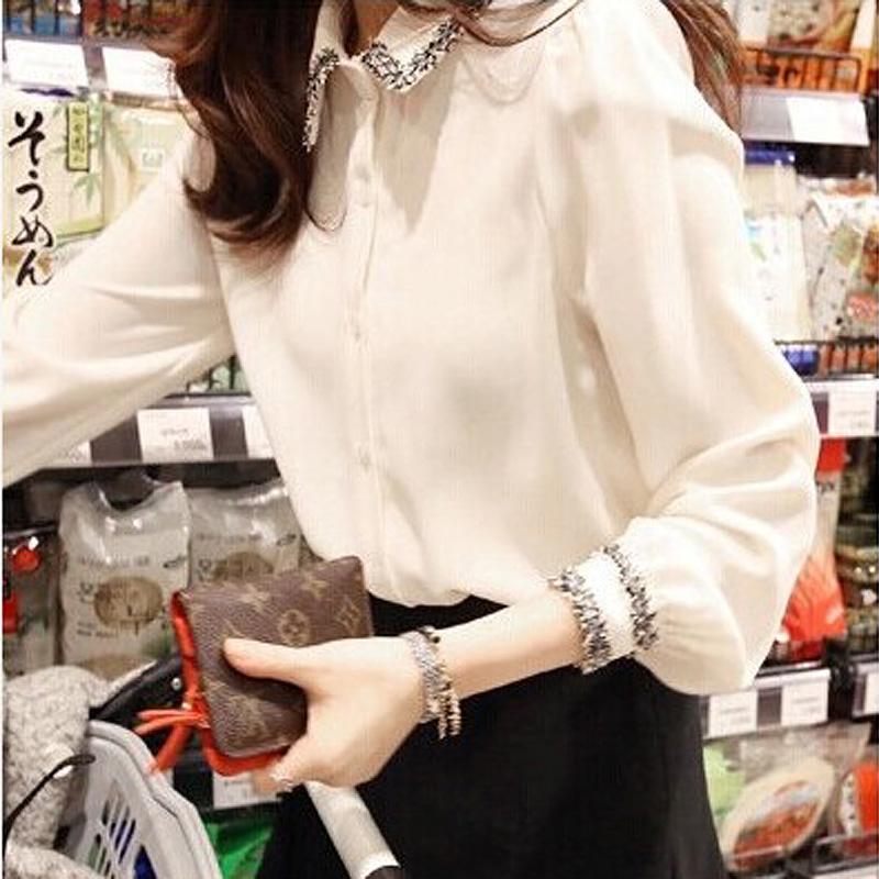 白色雪纺衬衫 2018春季新款韩范修身白色衬衫女装大码长袖显瘦衬衣职业雪纺上衣_推荐淘宝好看的女白色雪纺衬衫
