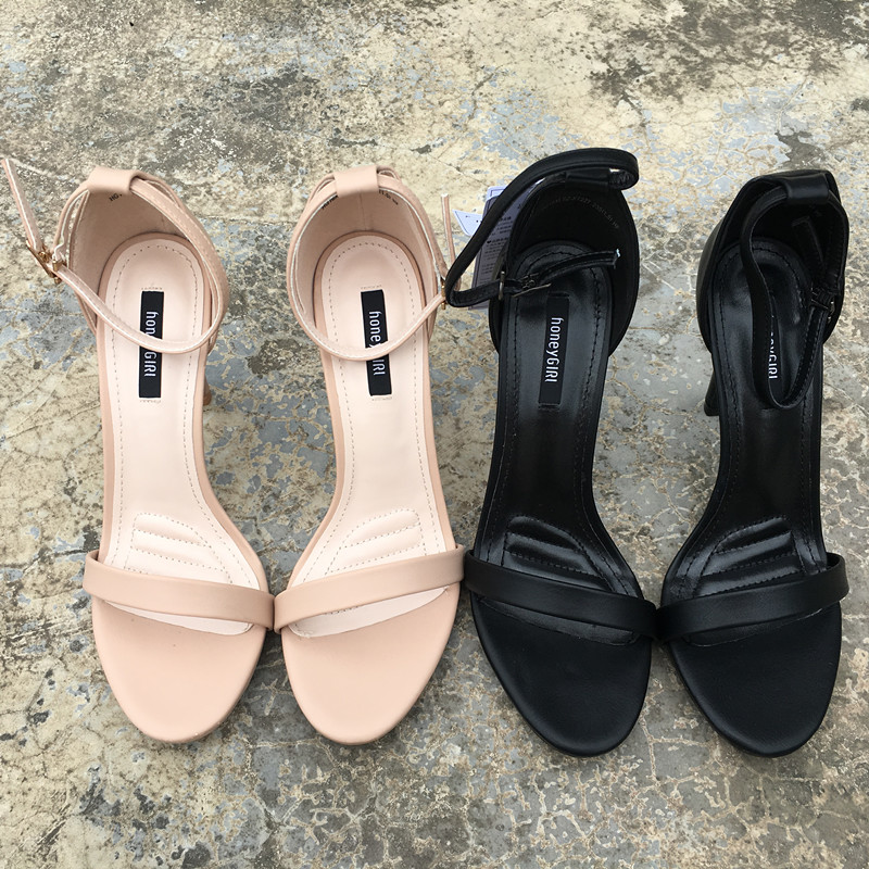 时尚高跟凉鞋 时尚女鞋 简约舒适好穿高跟一字凉鞋细跟露趾女鞋一字扣带_推荐淘宝好看的女时尚高跟凉鞋