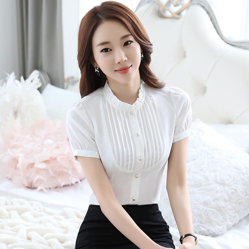 韩版雪纺衬衫 职业白色衬衫女短袖2018夏季新款韩版雪纺上衣立领半袖工作服衬衣_推荐淘宝好看的女韩版雪纺衬衫