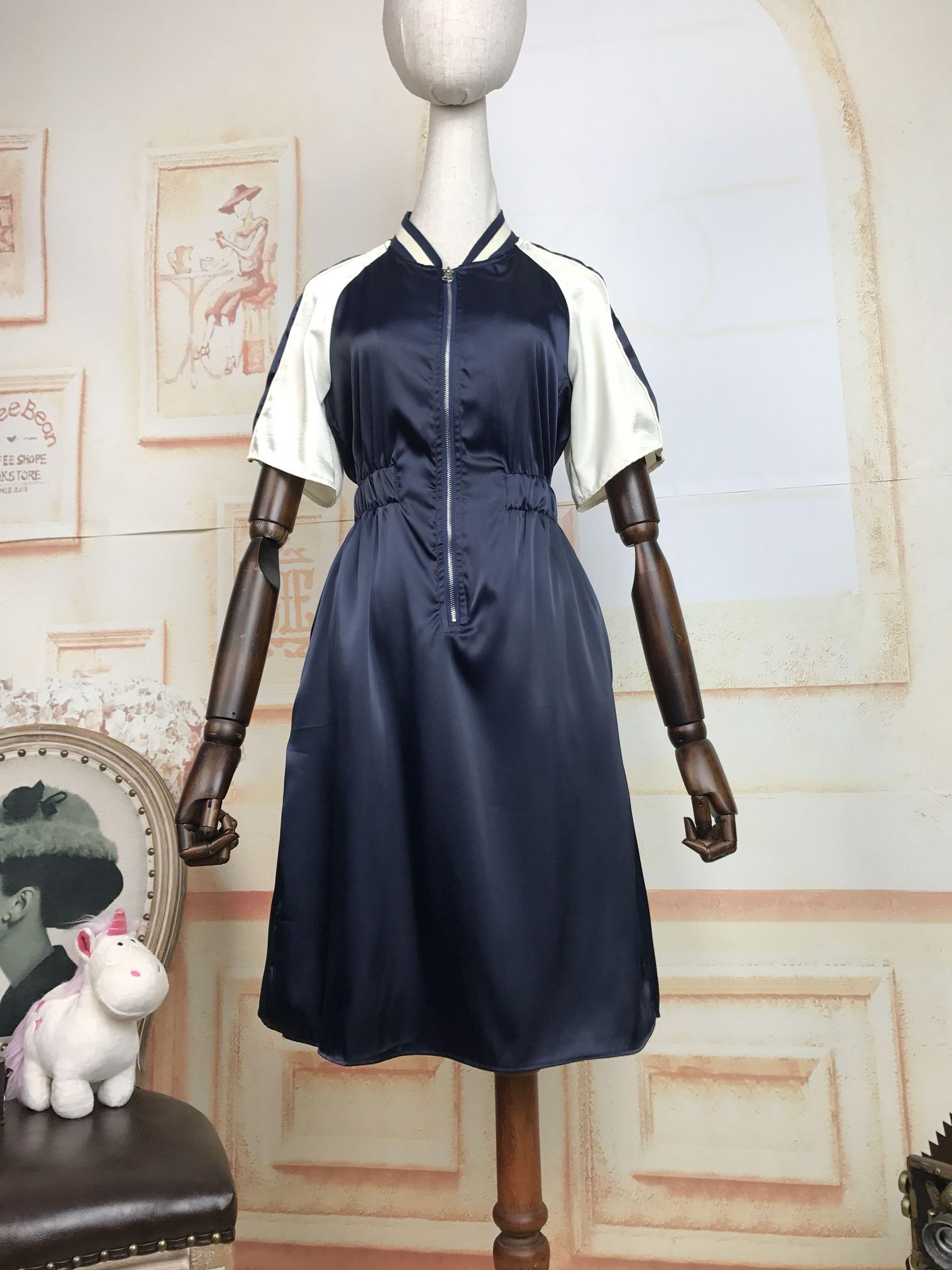 新款修身连衣裙 18夏新款运动风撞色拼接插肩短袖拉链松紧收腰修身显瘦连衣裙_推荐淘宝好看的新款修身连衣裙