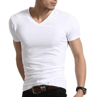 紫色T恤 2018夏装白色男式半袖汗衫韩版v领打底衫纯棉短袖体恤男士紧身T恤_推荐淘宝好看的紫色T恤