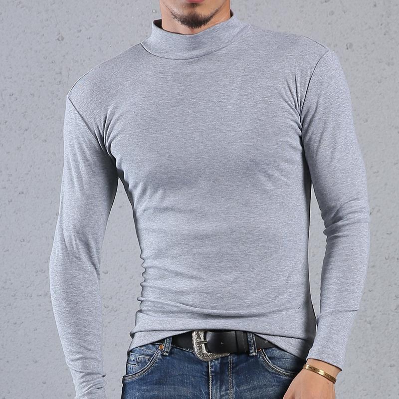 男装t恤长袖 春季男士装纯棉净黑灰白色秋衣内衣服t恤半中高领 长袖打底衫体恤_推荐淘宝好看的男t恤长袖