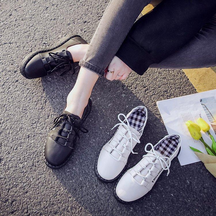 白色平底鞋 2018春季新款学院风系带小皮鞋韩版白色懒人休闲单鞋原宿平底女鞋_推荐淘宝好看的白色平底鞋