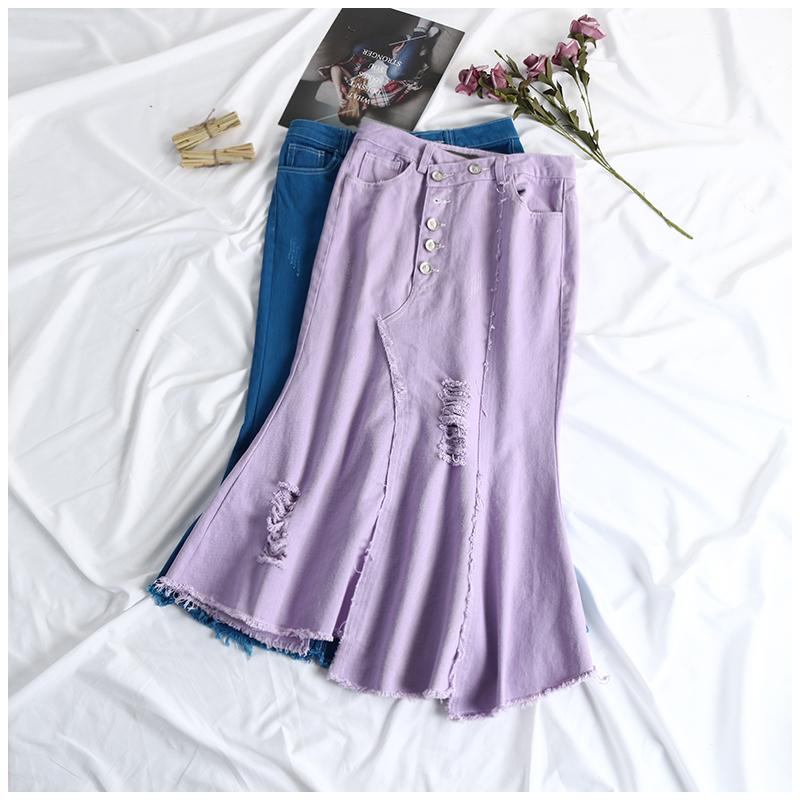 白色半身裙 夏季新款女装韩版纯色时尚破洞修身显瘦牛仔半身裙长裙EY_推荐淘宝好看的白色半身裙