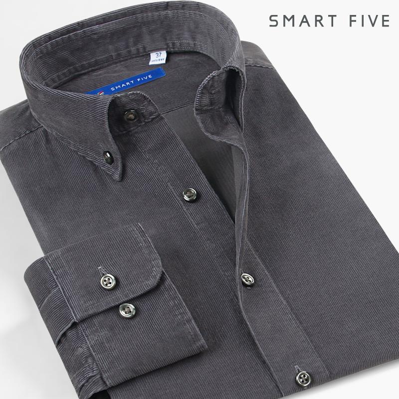 男式衬衫 SmartFive 纯棉灯芯绒衬衫男长袖日系水洗修身时尚休闲纯色男衬衣_推荐淘宝好看的男衬衫