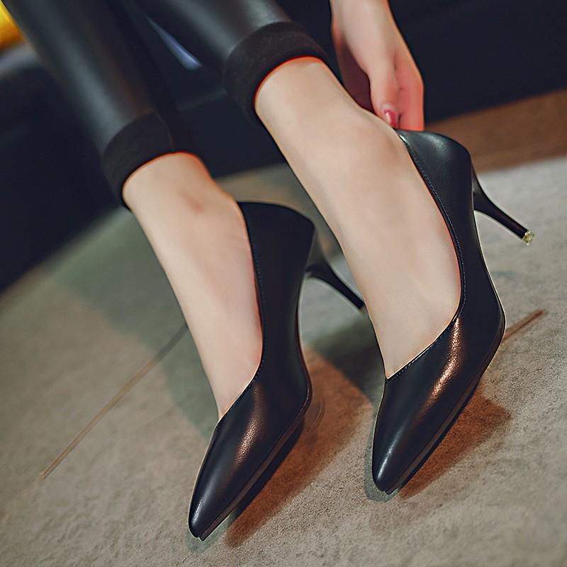 高跟单鞋 2017黑色高跟鞋女细跟韩版少女百搭尖头浅口单鞋夏季2017新款潮鞋_推荐淘宝好看的女高跟单鞋