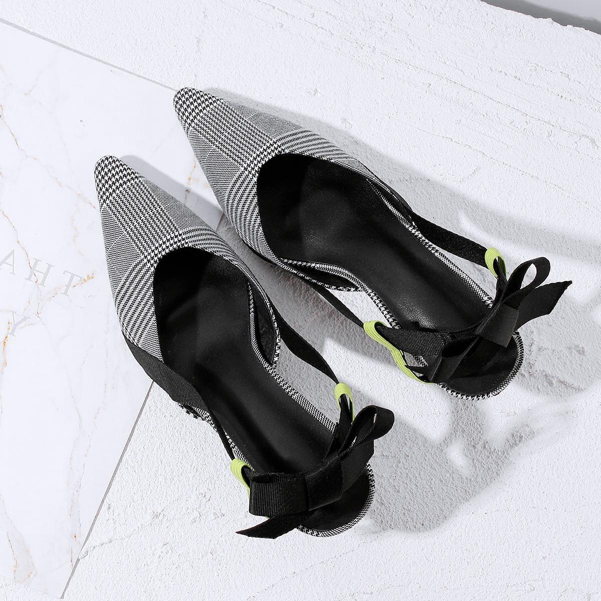 高跟单鞋 春夏千鸟格子布尖头后空后绊带单鞋女优雅气质细跟高跟包头凉鞋女_推荐淘宝好看的女高跟单鞋