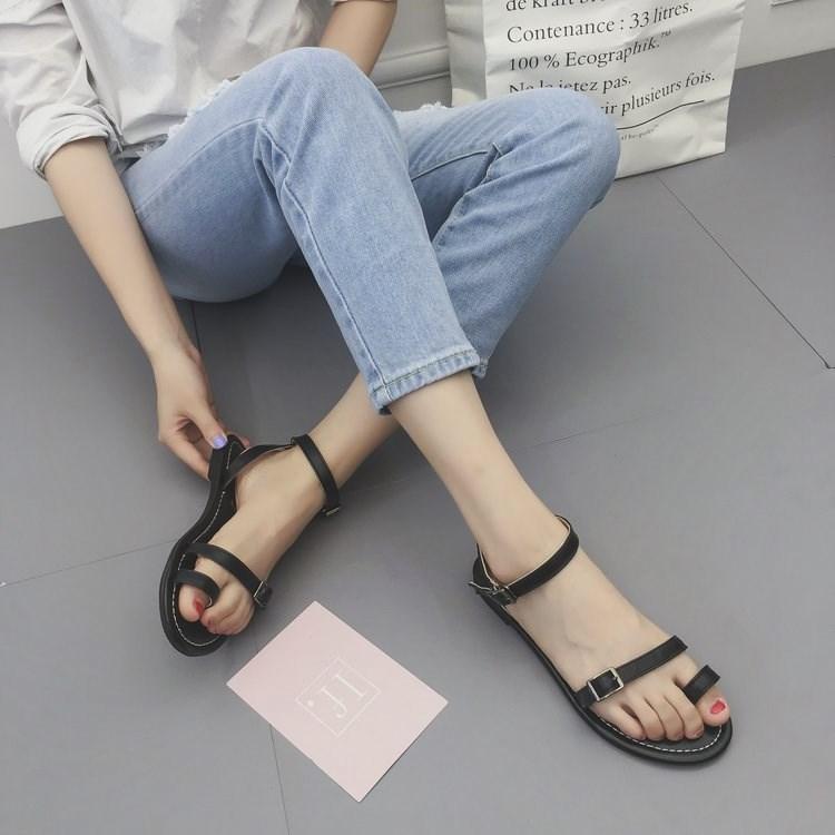 平跟罗马凉鞋 罗马凉鞋女夏新款平跟学生韩版凉鞋扣带平底夏季女鞋子1_推荐淘宝好看的女平跟罗马凉鞋