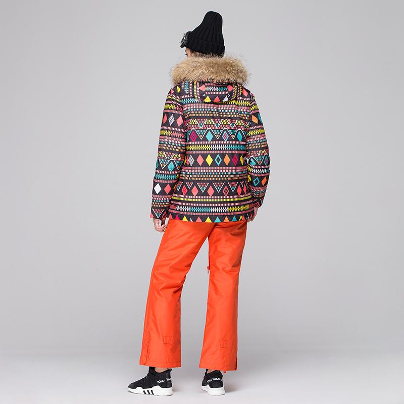 艾尚雪两件套羽绒服 艾尚雪运动装女套装羽绒服两件套印花户外滑雪装冲锋衣外套02169_推荐淘宝好看的女艾尚雪两件套羽绒服